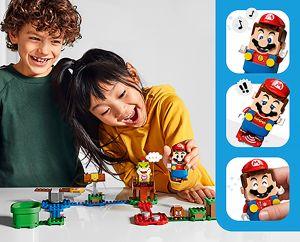 Kinderen spelen LEGO Mario